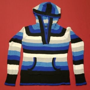 Sweaters - Striped Hooded Sweater